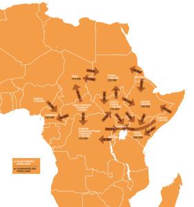 Oheisen kartan pakolaisten määrää koskevat tiedot perustuvat YK:n pakolaisjärjestö UNHCR:n arvioon tammikuulta 2015. Osa luvuista sisältää myös pakolaisuuden kaltaisessa tilanteessa olevat henkilöt. Lisäksi maissa saattaa olla merkittävä määrä rekisteröimättömiä pakolaisia ja turvapaikanhakijoita. Maiden sisäisten pakolaisten määrät perustuvat Internal Displacement Monitoring Centren arvioihin vuosilta 2013–2015. Varsinkin tämänhetkisissä konflikteissa pakolaisten määrät saattavat muuttua nopeasti ja siten poiketa esitetyistä luvuista. Kaikki luvut on esitetty kymmenentuhannen henkilön tarkkuudella.